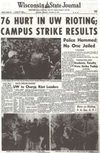 Front page of Wisconsin State Journal Oct 67 Riots